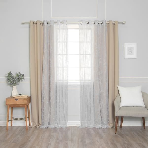 Rose Sheers Blackout Curtains Panel