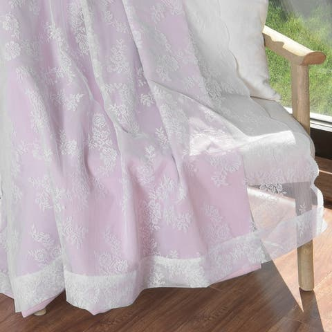 Aurora Home Rose Sheers & Blackout Curtains Panel Pair