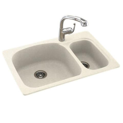 Swan 33-in D x 22-in W x 9.75-in H Solid Surface Dual Mount Double Bowl Kitchen Sink with 1-Hole