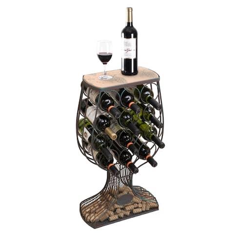 Vintage Wooden Metal Goblet Shaped Wine Rack with Cork Holder