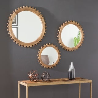 Link to Carbon Loft Devin Industrial Round Reclaimed Wood Wall Mirror Set Similar Items in Mirrors