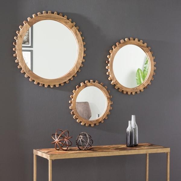 Carbon Loft Devin Modern Farmhouse Natural Wood Mirror Set