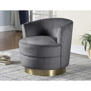 Best Master Furniture Velour Upholstered Swivel Chair