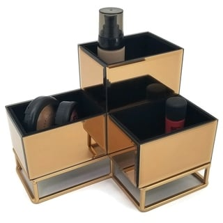 OnDisplay Lana 3 Section Tiered Mirrored Glass Makeup/Jewelry Organizer - Rose Gold