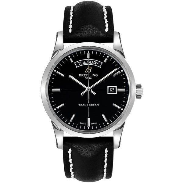 Breitling Men's A4531012-BB69-435X 'Transocean' Automatic Black Leather Watch. Opens flyout.