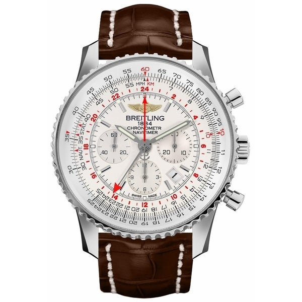 Breitling Men's AB044121-G783-756P 'Navitimer' Chronograph Brown Leather Watch. Opens flyout.