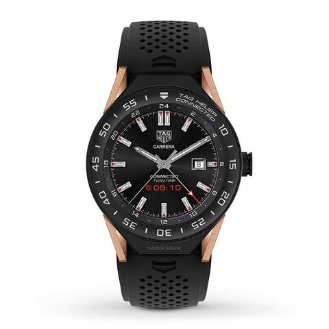 Tag Heuer Men's SBF8A8013.32FT6076 'Connected' Chronograph Black Rubber Watch