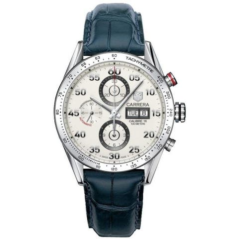 Tag Heuer Men's CV2A11.FC6183 'Carrera' Chronograph Blue Leather Watch
