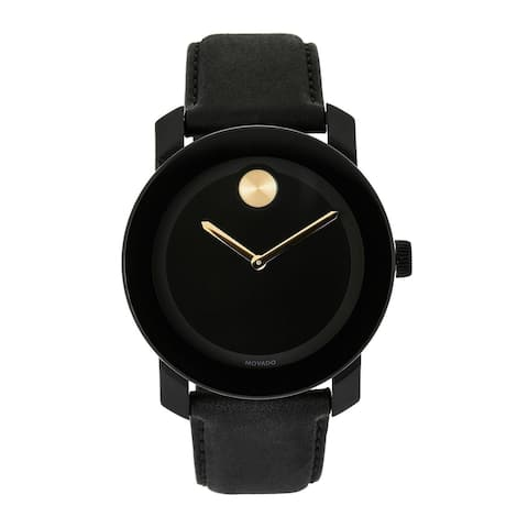 Movado Men's 3600480 'Bold' Black Leather Watch