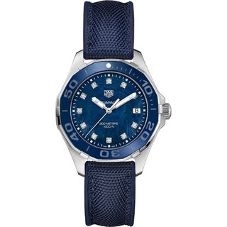 Link to Tag Heuer Women's WAY131L.FT6091 'Aquaracer' Diamond Blue Textile Watch Similar Items in Women's Watches