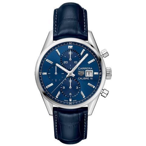 Tag Heuer Men's CBK2112.FC6292 'Carrera' Chronograph Blue Leather Watch