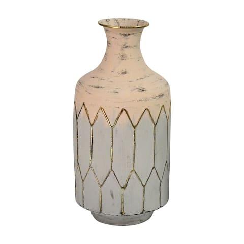 Stratton Home Decor Light Pink Metal Table Vase