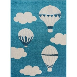 Blue White Soft Cute Area rug Carpet Mat with Baloons Clouds Cartoon For Kids Little Girl Boy Room Nursery 4x5 5x7 7x9 8x10
