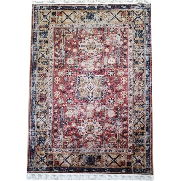 La Dole Rugs Maroon Blue Rustic Vintage Traditional Area Rug Carpet Living Room Bedroom Hallway Runner Patio 5x7, 8x10, 7X9 feet