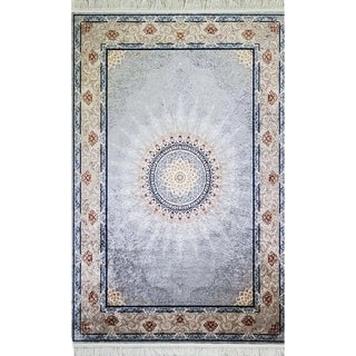 La Dole Rugs Blue Cream Beige Bordered Machine Washable Area Rug Carpet For Living Room Bedroom 5x7, 8x10, 7X9 foot