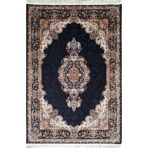 La Dole Rugs Dark Navy Blue Gold Bordered Royal Traditional Area Rug Carpet Living Room Hallway Patio Sizes 5x7 8x10, 7X9 feet