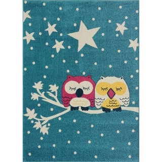 Taylor & Olive Blue/ Off-white Owl Area Rug