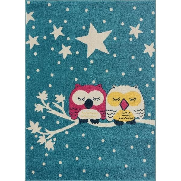Blue Pink White Soft Area rug Carpet Mat Owl Stars Animal Cartoon For Kids Little Girl Boy Room Nursery 4x5 5x7 7x9 8x10