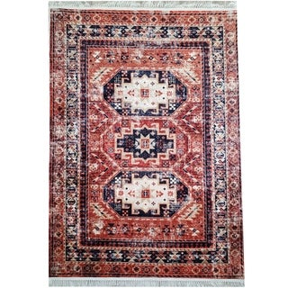 La Dole Rugs Red Blue Rustic Vintage Traditional low Pile Light Area Rug Carpet Living Room Hallway Patio 5x7 8x10 7X9 feet