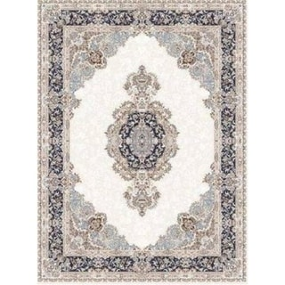 LaDole Rugs Navy Blue Beige Cream Silver Traditional Light Weight Area Rug Living Room Hallway Patio Sizes 5x7, 8x10, 7X9 feet