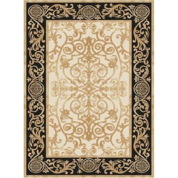 La Dole Rugs Black Gold Bordered Royal Traditional Area Rug Carpet Living Room Hallway Patio Sizes 5x7, 8x10, 7X9 feet
