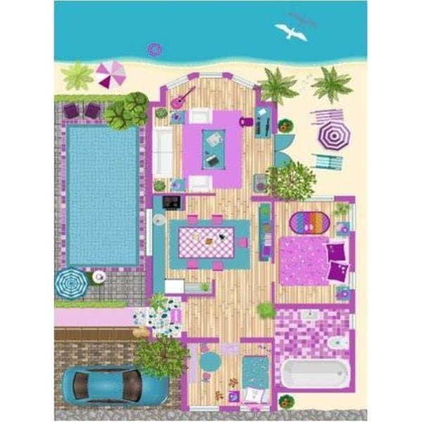 La Dole Rugs Pink Turquoise Blue Barbie Doll House Area Rug Mat For Kids Childrens room Decoration Playroom 5x7, 8x10, 7X9 feet