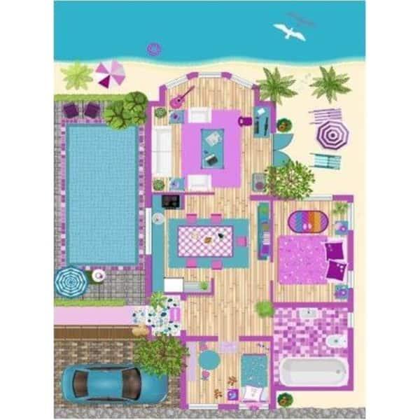Shop La Dole Rugs Pink Turquoise Blue Barbie Doll House Area ...