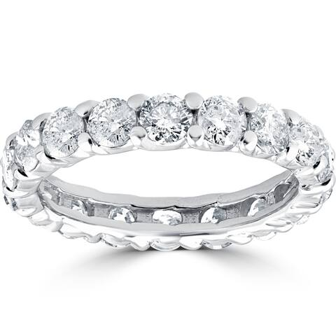 3CT 14k White Gold Diamond Eternity Wedding Ring Lab Grown Eco Friendly