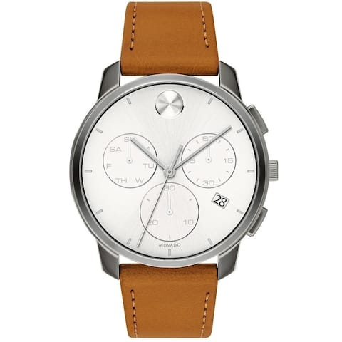 Movado Men's 3600631 'Bold' Chronograph Brown Leather Watch