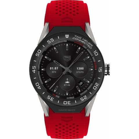 Tag Heuer Men's SBF8A8001.11FT6080 'Connected Modular 45' Chronograph Red Rubber Watch