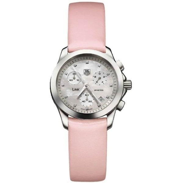 Tag Heuer Women's CJF1312.FC6190 'Link' Chronograph Pink Leather Watch. Opens flyout.