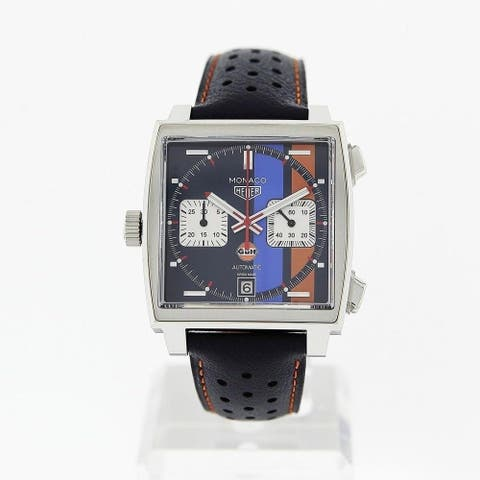 Tag Heuer Men's CAW211R.FC6401 'Monaco' Chronograph Black Leather Watch