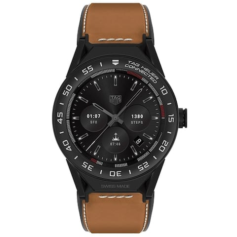 Tag Heuer Men's SBF8A8013.32FT6110 'Connected Modular 45' Chronograph Brown Leather Watch