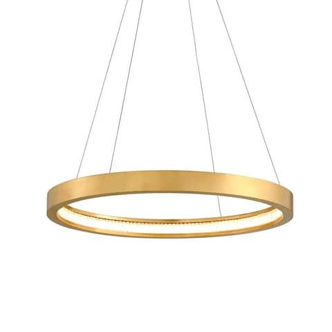 Corbett Lighting Jasmine 28-inch Gold Leaf LED Circular Frame Pendant, Clear Glass Shade