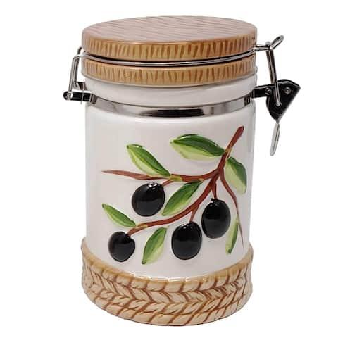 Olive Design Ceramic Salt Sugar Canister Jar W/Lid-Ideal for storing Salt/Sugar Coffee Tea Cookies for Kitchen