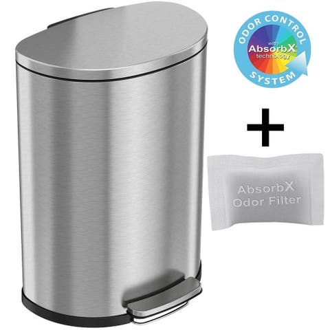 iTouchless SoftStep 13.2 Gallon Semi-Round Stainless Steel Step Trash Can with Odor Control System