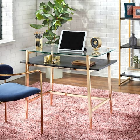Lifestorey Thayer Mid-Century Glass Desk