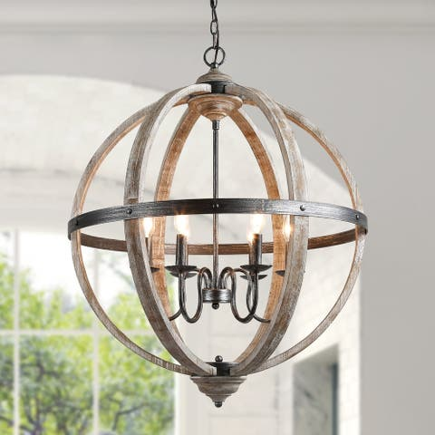 "The Gray Barn White Ridge Farmhouse Chandelier with Distressed Wood Kitchen Island Light - W34.5"" x H27.2"""