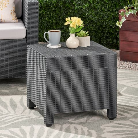 Waverly Outdoor Faux Wicker Print Side Table by Christopher Knight Home