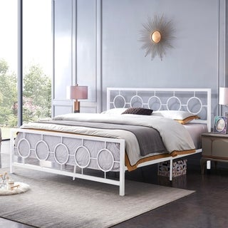 Francoise Modern Iron King Bed Frame by Christopher Knight Home