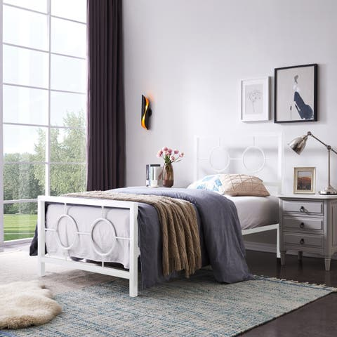 Francoise Modern Iron Twin Bed Frame by Christopher Knight Home