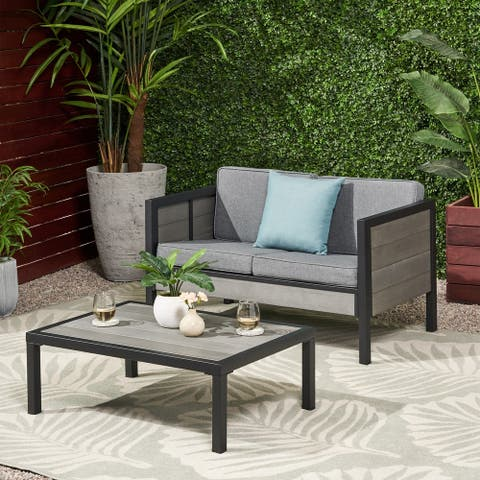 Jax Outdoor Faux Wood Loveseat Set with Coffee Table by Christopher Knight Home