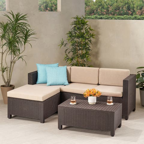 Waverly Outdoor 3 Seater Faux Wicker Print Sectional Set with Ottoman by Christopher Knight Home