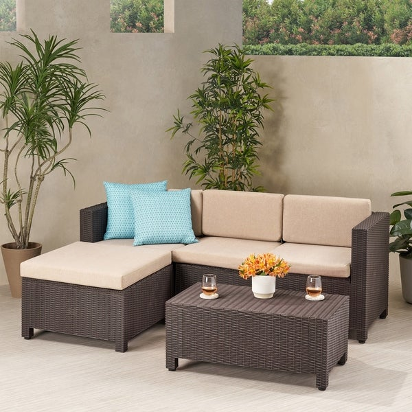 Waverly Outdoor 3 Seater Faux Wicker Print Sectional Set with Ottoman by Christopher Knight Home. Opens flyout.
