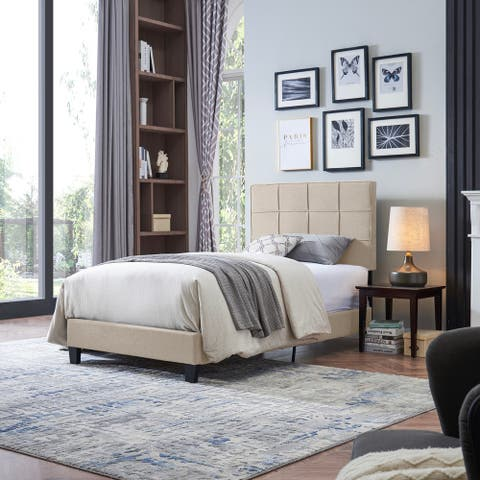 Eveleth Contemporary Upholstered Twin Bed Platform by Christopher Knight Home