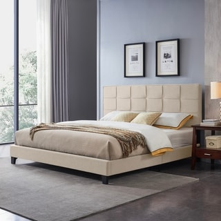 Eveleth Contemporary Upholstered King Bed Platform by Christopher Knight Home