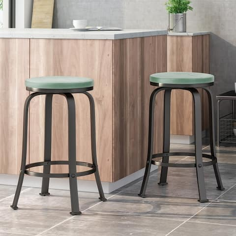 Skyla Modern Industrial Swiveling Counter Stool (Set of 2) by Christopher Knight Home