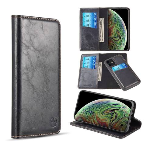 Gentleman Detachable Magnetic Stand Folio Flip Leather Wallet Flap Pouch Case Cover Compatible with Apple iPhone 11