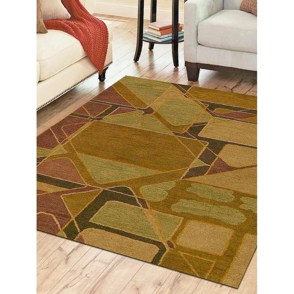 Hand Tufted Carpet Indian Geometric Oriental Transitional Area Rug