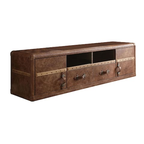 Leatherette Upholstered Wooden TV Stand with Spacious Storage, Rustic Brown